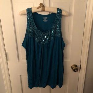 Size 26/28 Turquoise Embellished Lane Bryant Top